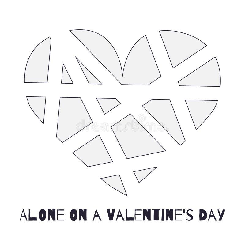 Grau bessert defektes Herz auf weißem Hintergrund mit Aufschrift ` allein auf Valentinsgruß ` s Tag-` aus stock abbildung