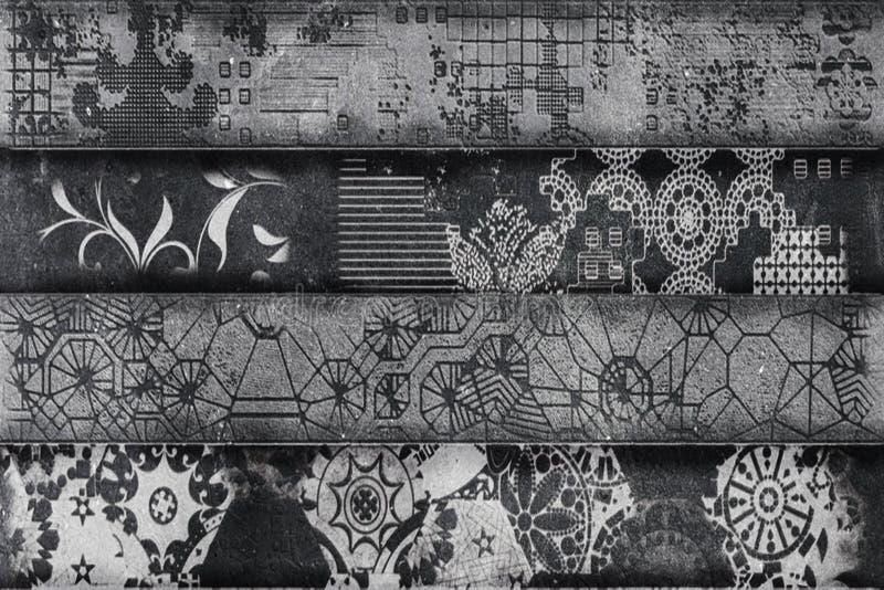 Grau färbte geometrischen Wandkunstdekor, keramischen grauen Farbfliese Entwurf für Badezimmer, Grey Texture; Tapete, Linoleum, G vektor abbildung