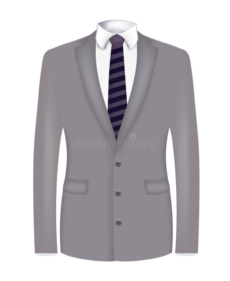 Grau-Mann-Anzug mit gestreifter Krawatte vektor abbildung