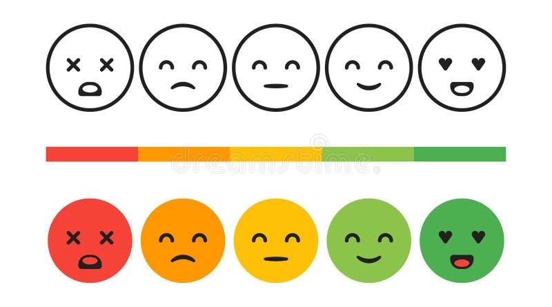 Grau, nível de avaliação de satisfação Emoções do feedback, smiley, ilustração do conceito do vetor Experiência do usuário ilustração royalty free