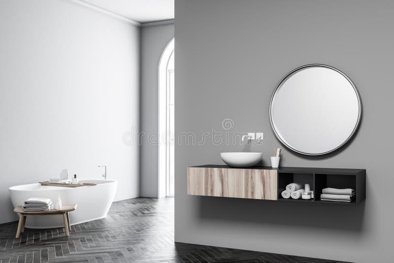 Grau wölbte Fensterbadezimmer, -wanne und -wanne lizenzfreie abbildung