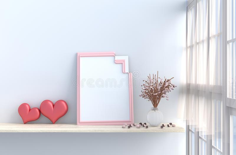 Grau-weißer Wohnzimmerdekor mit zwei Herzen für Valentinstag vektor abbildung