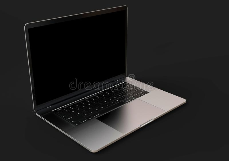 Graue ähnliche Laptop-Computer MacBook Pro-Raumes, Vorderansicht lizenzfreie abbildung