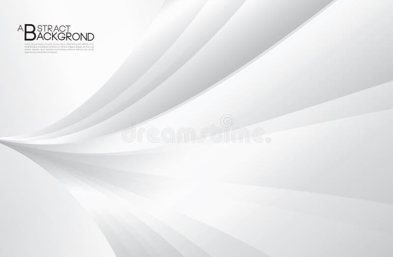 Graue abstrakte Hintergrundvektorillustration, Abdeckungsdesignschablone, silberner Kurvenvektor, Geschäftsfliegerplan, Tapete lizenzfreie abbildung