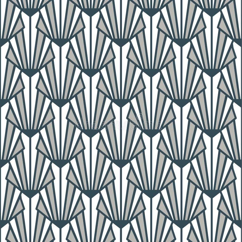 Graue blaue dekorative Beschaffenheit nahtlosen Musters Buntglas-Art Decos vektor abbildung