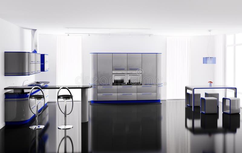 Graue blaue Küche 3d stock abbildung. Illustration von lampe - 12701241