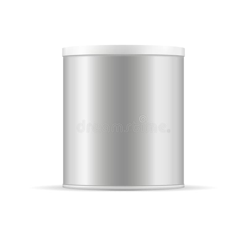 Graue Blechdose mit Plastikkappe Silberner Vektorbehälter lizenzfreie abbildung