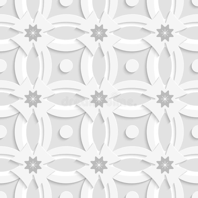 Graue Blumen des weißen Verzierungsnetzes und weiße Kreuze lizenzfreie abbildung