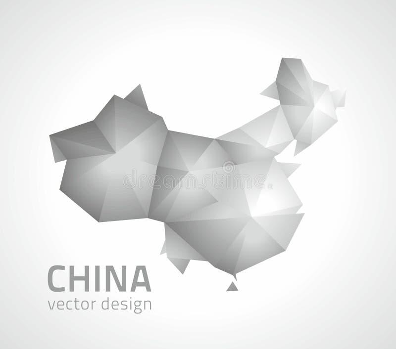 Graue China-Vektors polygonale und silberne Dreieckkarte lizenzfreie abbildung
