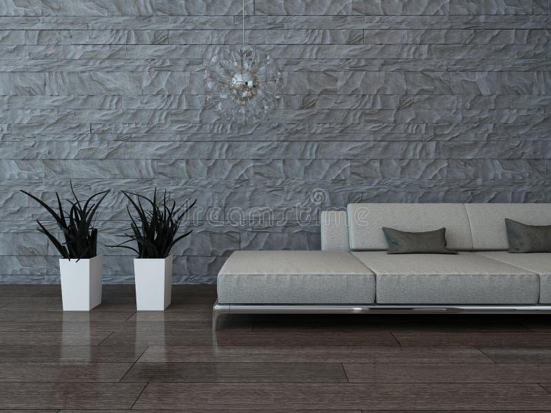 Graue couch gegen steinwand stock abbildung illustration von holz houseplant 40434442 - Graue steinwand ...