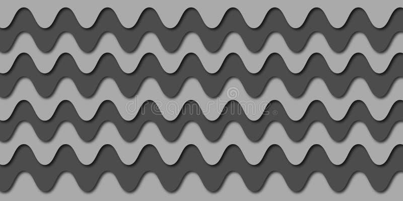 Graue digitale Fliesen des Wellenmusters entwerfen für Innenausgangs-, Badezimmer- oder Bürowand lizenzfreie abbildung