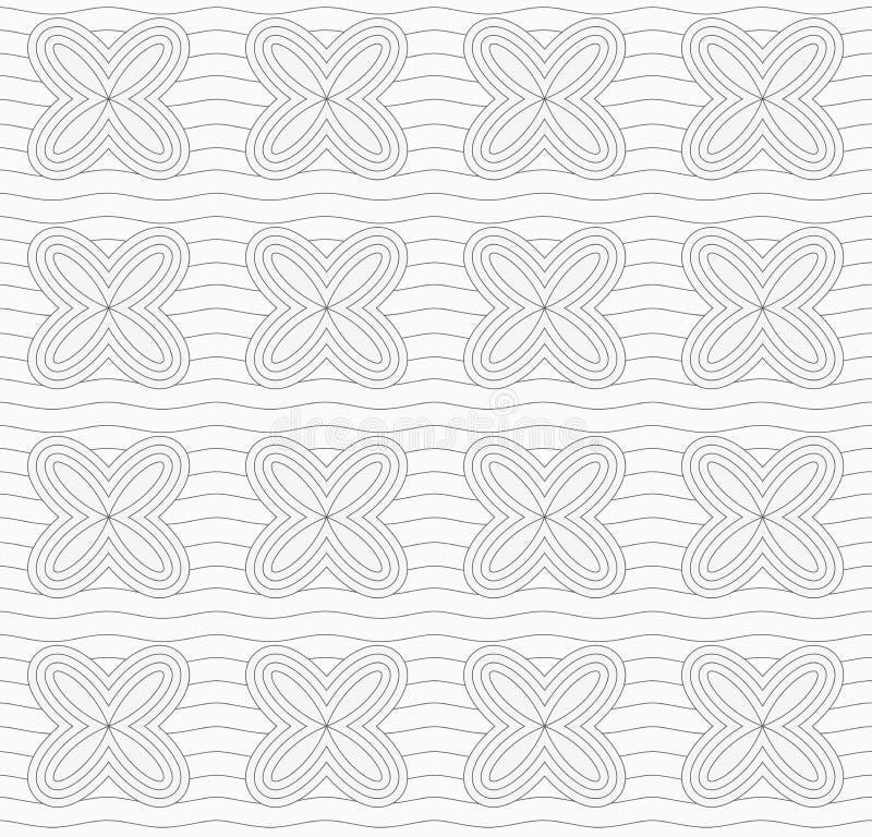 Graue einfache vier geometrische Blumen des Pedals setzt an Linien fort vektor abbildung