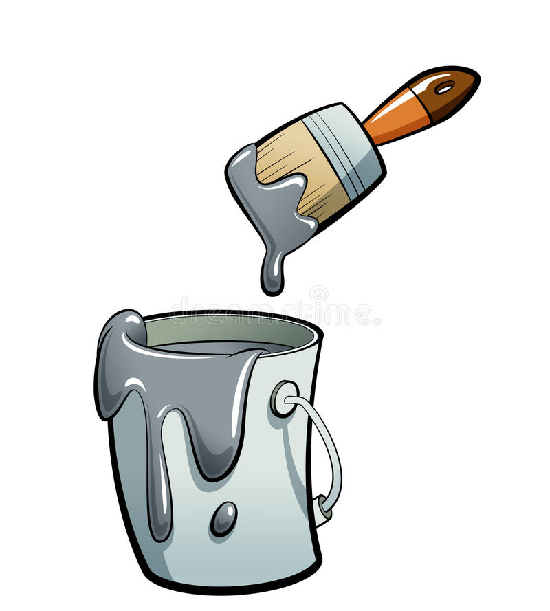 Graue Farbe der Karikatur Farbin einer Farbeimermalerei mit Farbe b stock abbildung