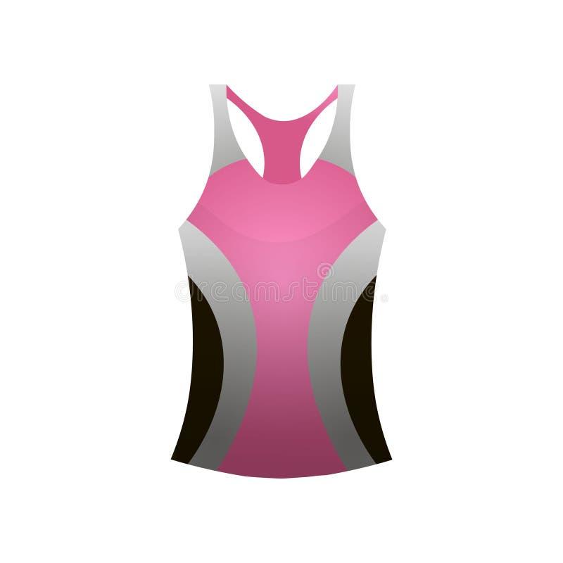 Graue Farbe des Sportfrauent-shirt Westen-Rosas vektor abbildung