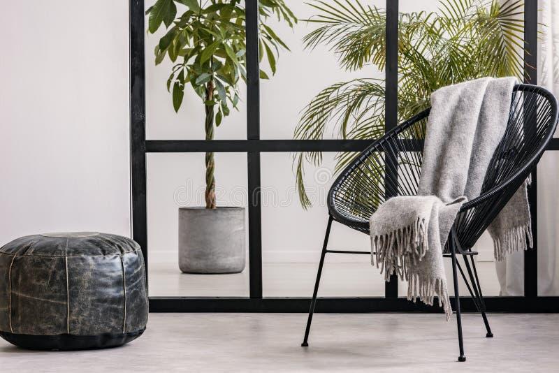 Graue gemütliche Decke auf schwarzem fantastischem Lehnsessel im geräumigen Wohnzimmer Innen mit städtischem Dschungel stockfotografie