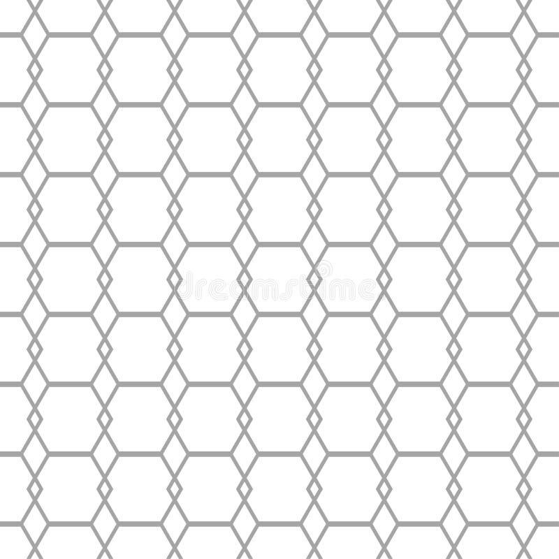 Graue geometrische Verzierung auf weißem Hintergrund Nahtloses Muster lizenzfreie abbildung
