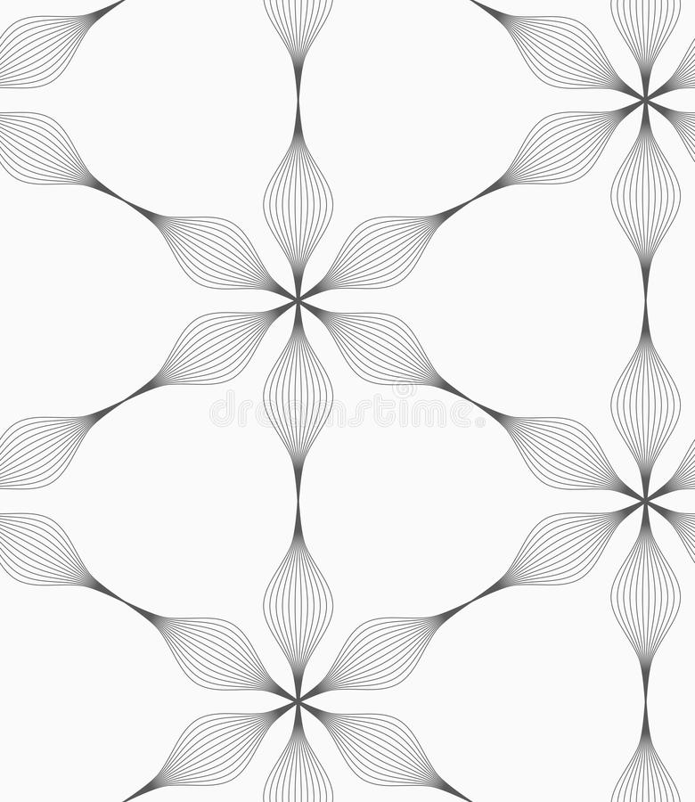 Graue gestreifte sechs abstrakte Blumen des Pedals stock abbildung