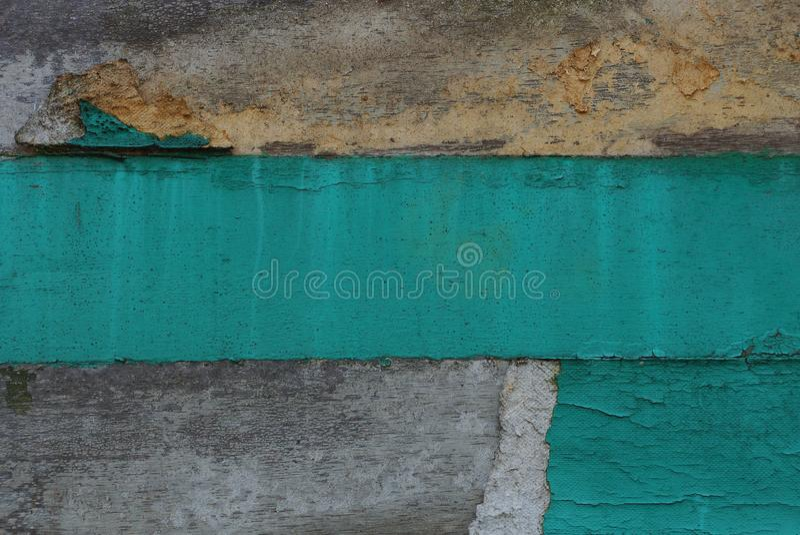 Graue grüne gestreifte Beschaffenheit von der schmutzigen Betonmauer lizenzfreie stockfotos