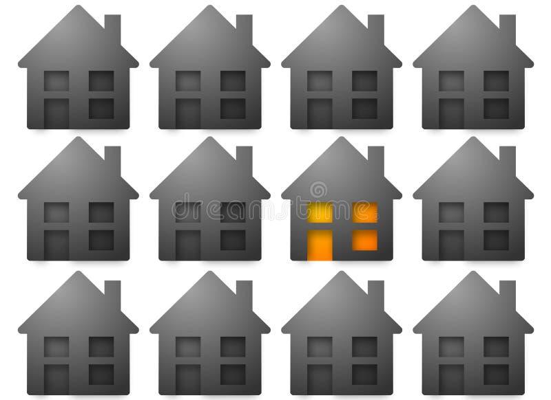 Graue Häuser graue häuser eins mit leuchte stock abbildung illustration