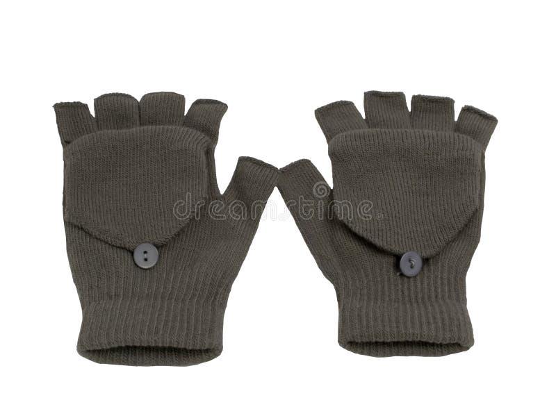 Graue hölzerne Handschuhe lizenzfreie stockbilder