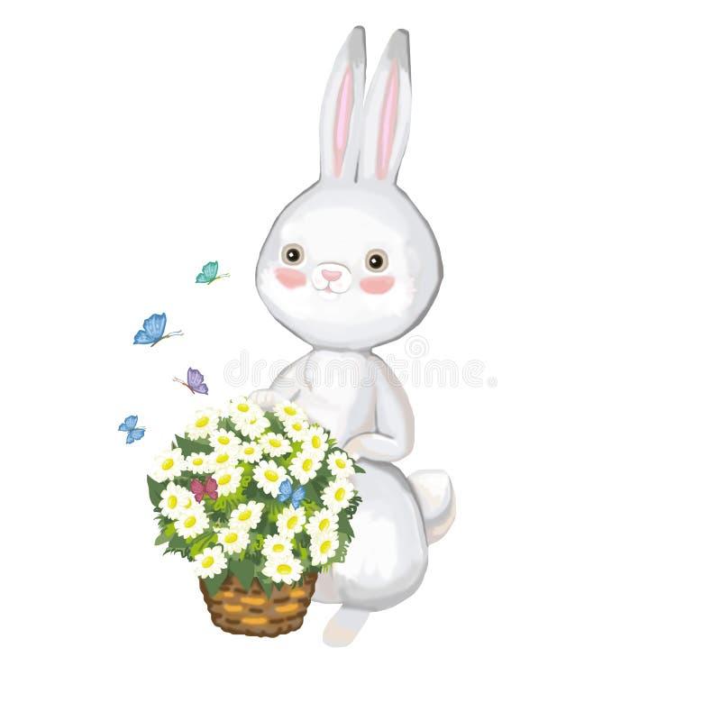 Graue Hasen mit einem Korb von Gänseblümchen auf einem weißen Hintergrund vektor abbildung