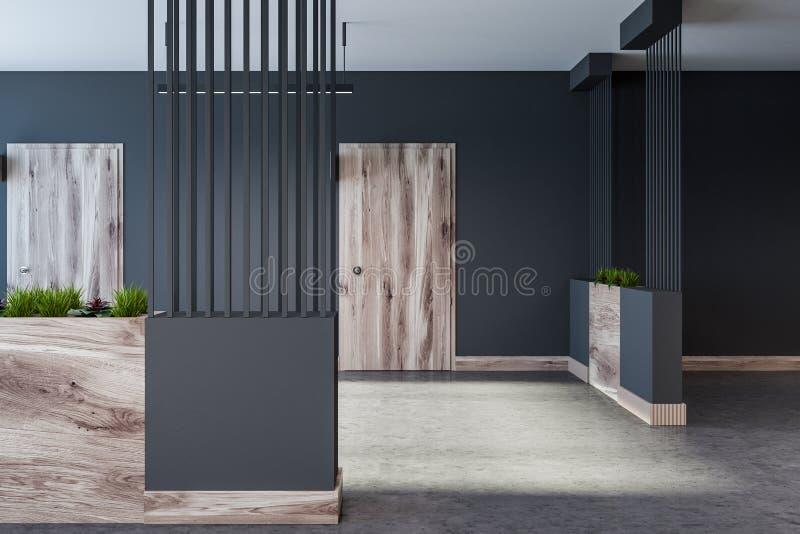 Graue Hotel-, Büro- oder Wohnblocklobby stock abbildung