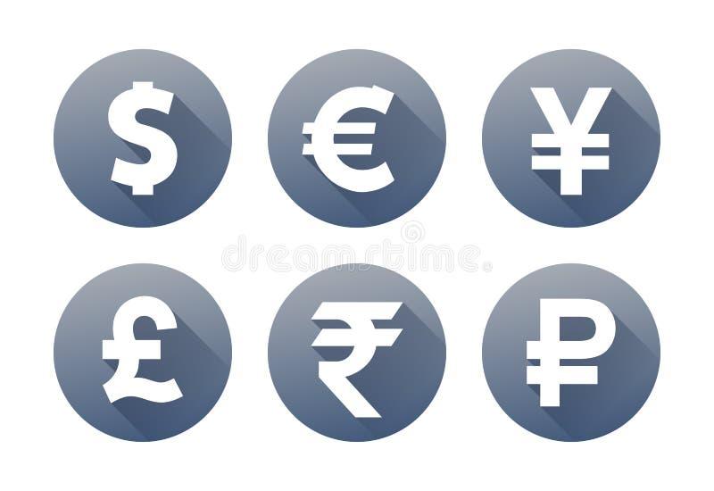 Graue Ikonen der Währung mit Schattendollareuropfundyen Yuan-Rupienrubel lizenzfreie abbildung