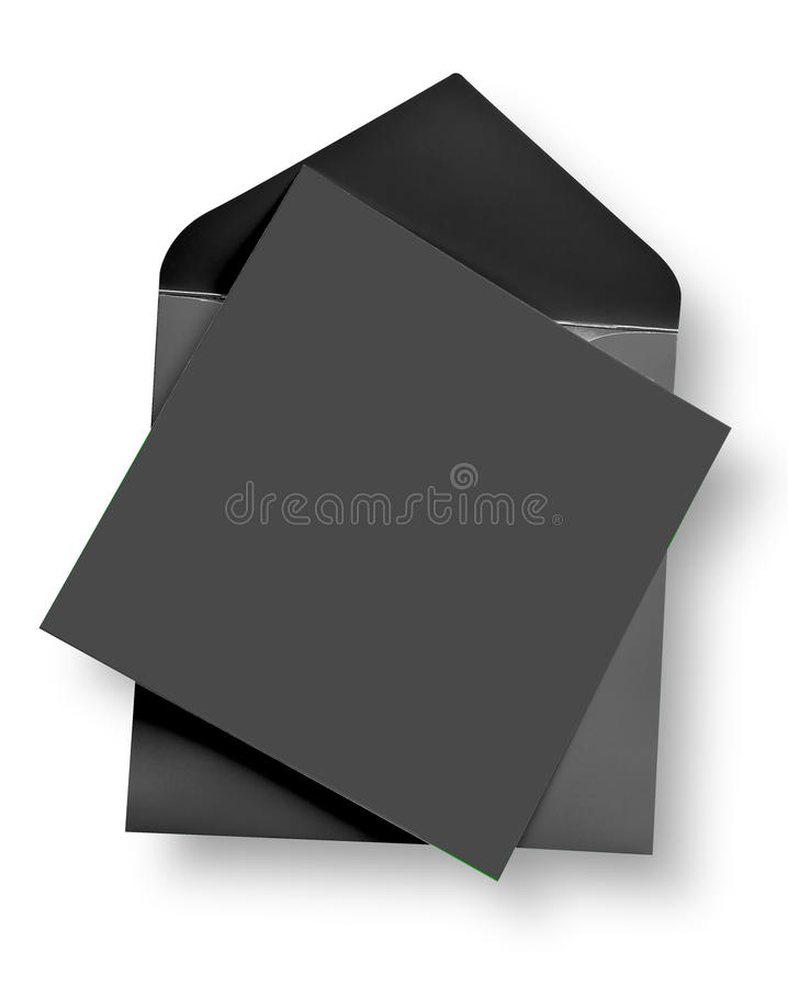 Graue Karte und Umschlag. stockbild