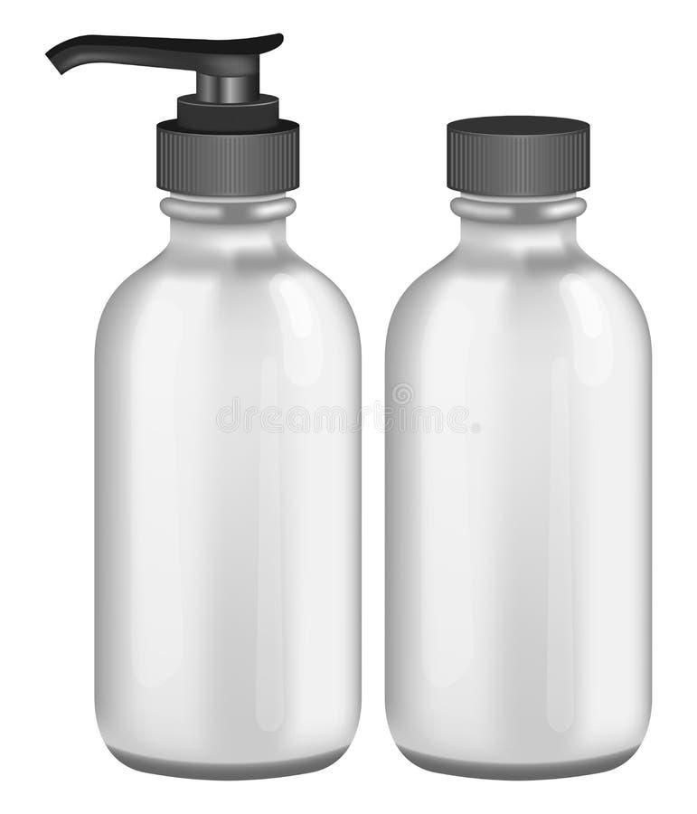 Graue kosmetische Flaschen lizenzfreie abbildung