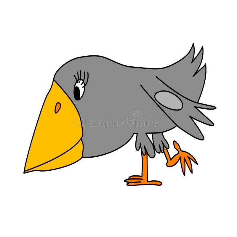 Graue Krähe lizenzfreie abbildung
