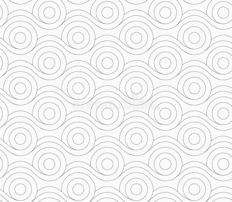 Graue Kreise, die mit gewellten Linien verschmelzen vektor abbildung
