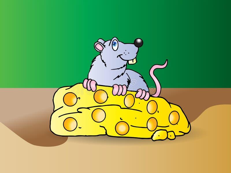 Graue Maus essen großen Käse