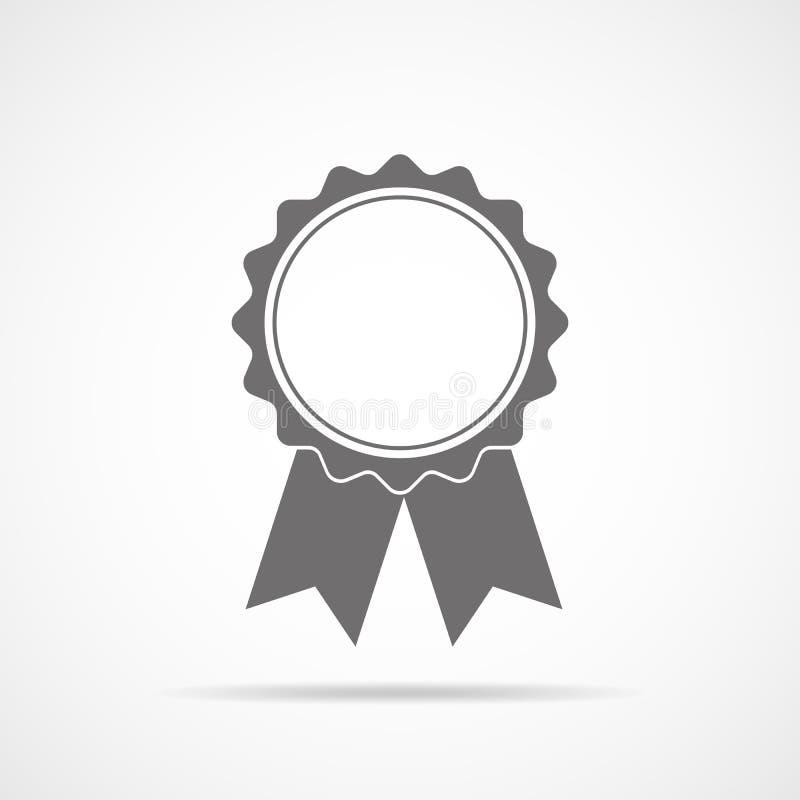 Graue Medaillenikone mit Band Auch im corel abgehobenen Betrag stock abbildung