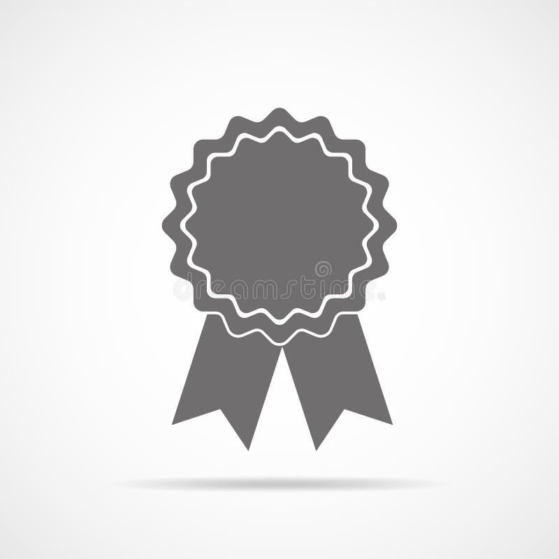 Graue Medaillenikone mit Band Auch im corel abgehobenen Betrag lizenzfreie abbildung