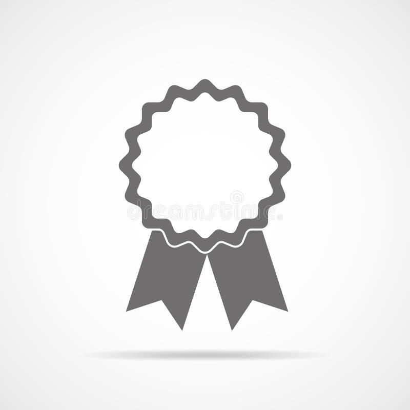 Graue Medaillenikone mit Band Auch im corel abgehobenen Betrag vektor abbildung