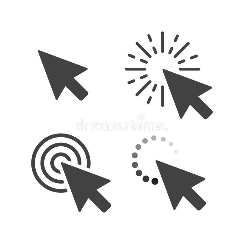 Graue Pfeilikonen des Computermausklick-Cursors eingestellt Auch im corel abgehobenen Betrag vektor abbildung