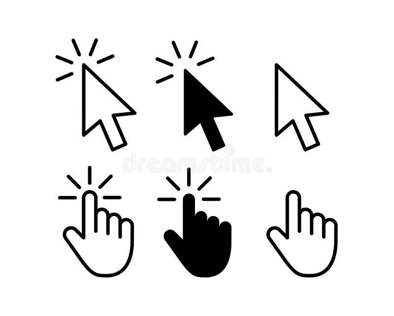 Graue Pfeilikonen des Computermausklick-Cursors eingestellt und Ladenikonen Cursor-Ikone Auch im corel abgehobenen Betrag stock abbildung