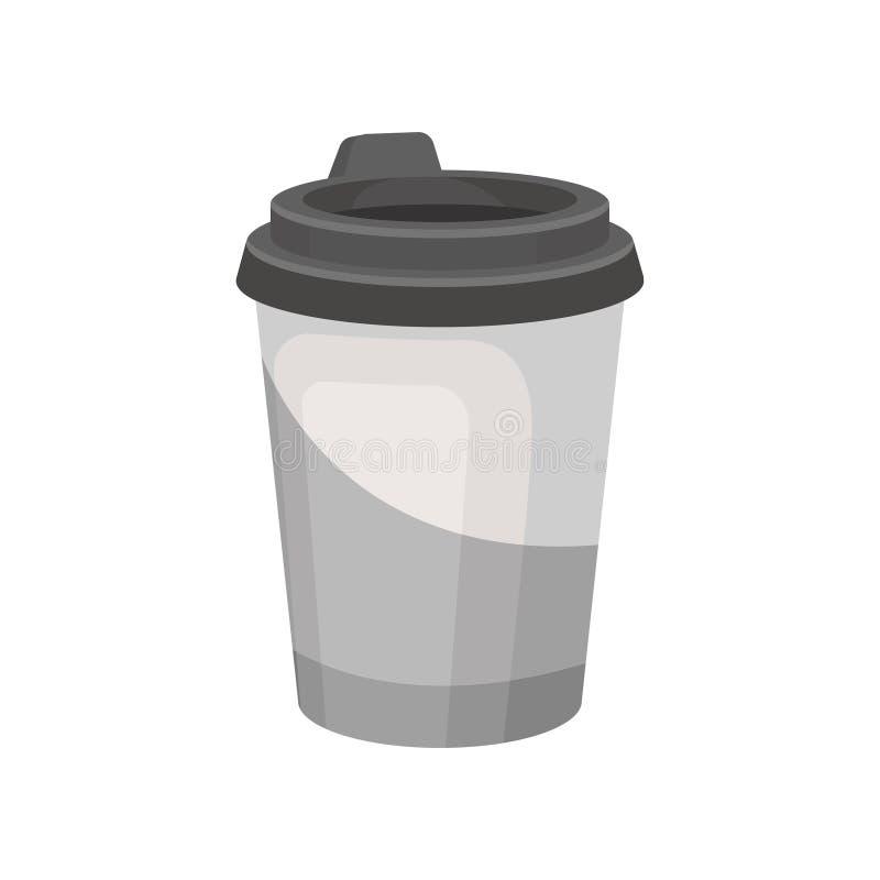 Graue Plastikschale für Kaffee oder Tee mit Deckel Geschmackvolles Getränk Köstliches heißes Getränk Flaches Vektordesign lizenzfreie abbildung