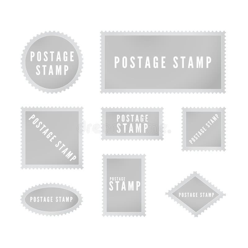 Graue Poststempelschablonensammlung mit Schatten Retro- leere Briefmarke mit perforierter Grenze Auch im corel abgehobenen Betrag lizenzfreie abbildung