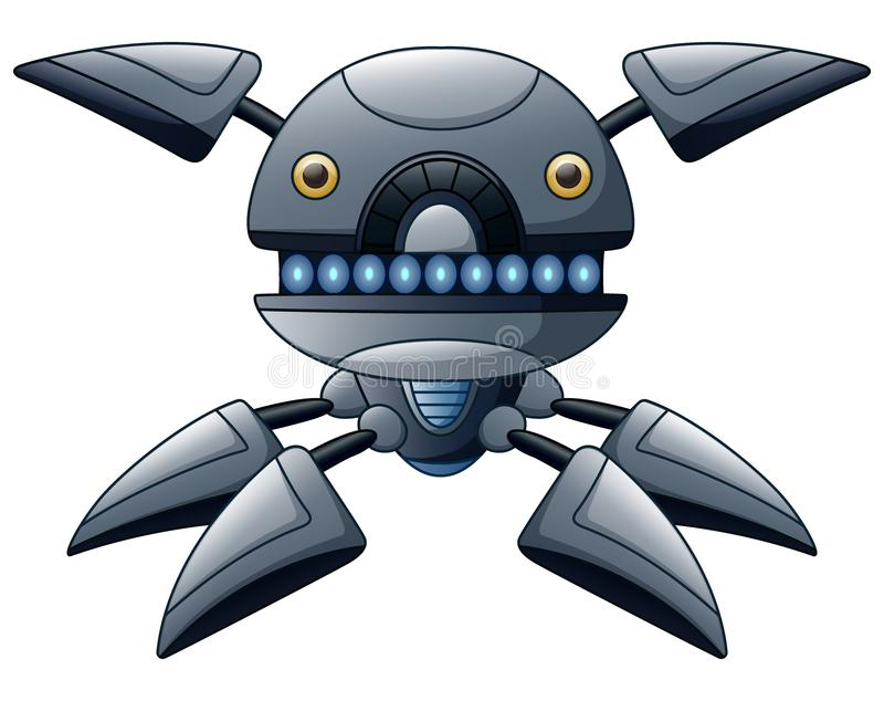 Graue Roboterkarikatur lokalisiert auf weißem Hintergrund vektor abbildung