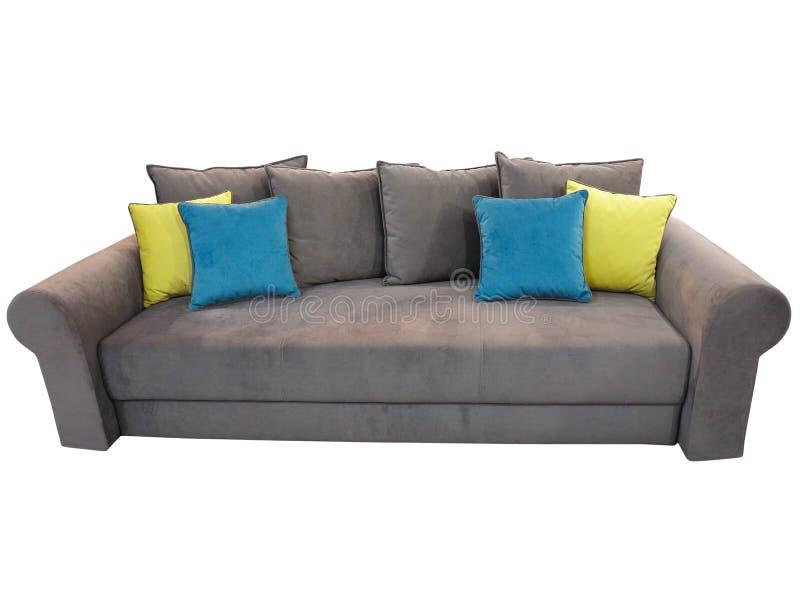 Graue Sofamöbel Mit Den Farbigen Kissen Lokalisiert Auf ...
