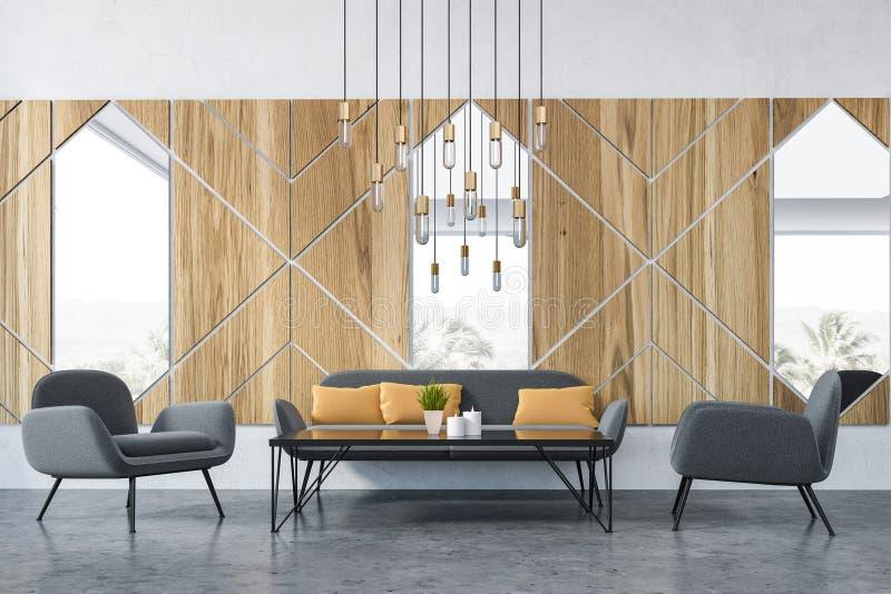 Graue Sofas im hölzernen Caféinnenraum stock abbildung