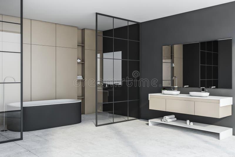 Graue und beige Badezimmerecke mit Wanne und Wanne stock abbildung