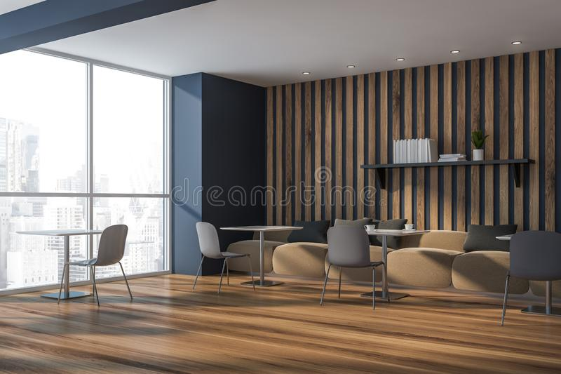 Graue und hölzerne Caféecke mit Sofas stock abbildung