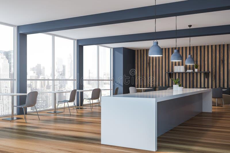 Graue und hölzerne Caféecke mit Stange und Fenstern vektor abbildung