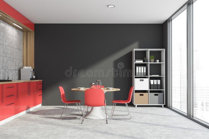 Graue und rote Küche mit Bücherschrank lizenzfreie abbildung