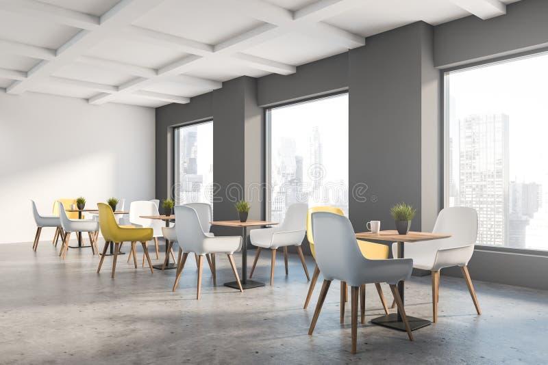 Graue und weiße Dachbodencaféecke lizenzfreie abbildung