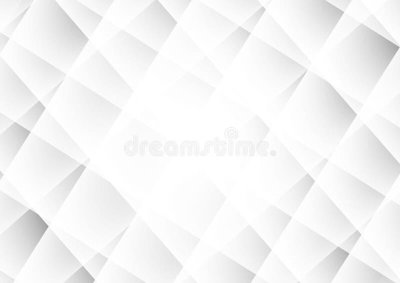 Graue und weiße Farbe des modernen Designs des abstrakten geometrischen Hintergrundes, Vektorillustration mit Kopienraum stock abbildung