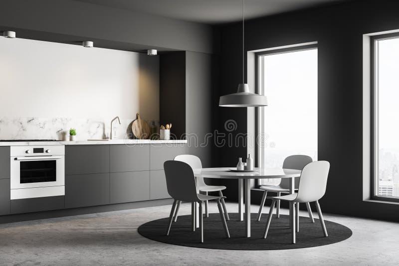 Graue und weiße Küchenecke mit Tabelle vektor abbildung