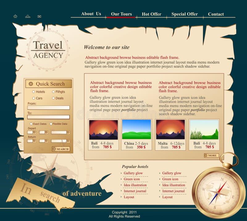 Graue vektorweb site für Reisebüro lizenzfreie abbildung